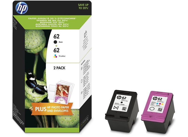 HP 62 2-pack Black -Tri-color Original Ink Cartridges