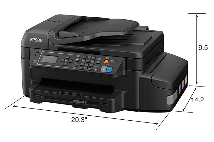 size Epson WorkForce ET-4550 EcoTank