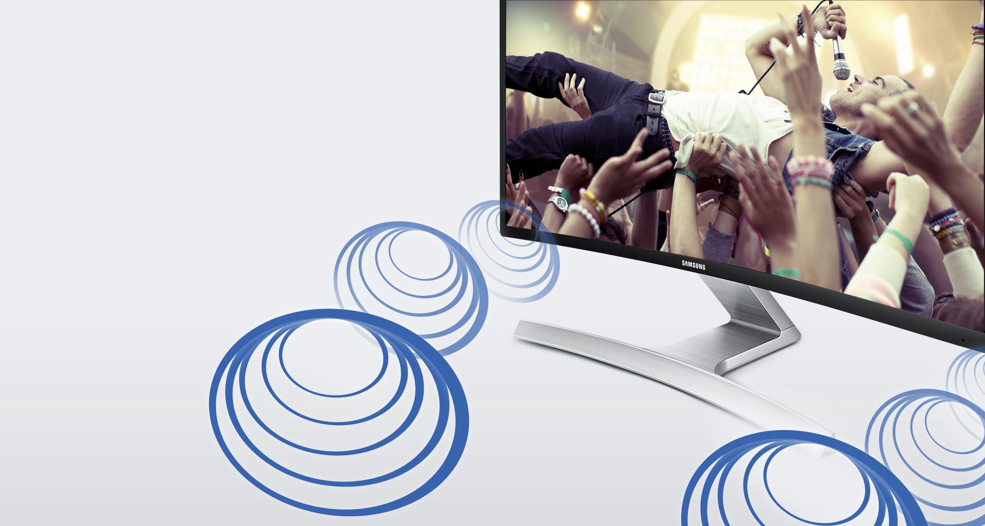 صدای برنامه های سرگرم از طریق بلندگوهای استریو تعبیه شده در صفحه نمایش منحنی با کیفیتی فوق العاده پخش می شوند.